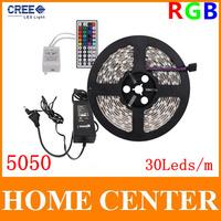 5M 5050 RGB 150Leds Led Strips light DC12V and 44Key Infrared remote controller and 12V3A Power supply EU US AU UK