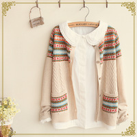 Autumn women's o-neck cotton 100% multicolour decorative pattern cardigan outerwear Sweaters