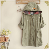 Autumn women's embroidery chrysanthemum with a hood medium-long spirals outerwear Jackets coat