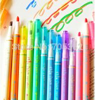 New fation colorful  highlighter marker pen,Creative 12 colors pen,fluorescent pen,Free shipping(tt-1277)
