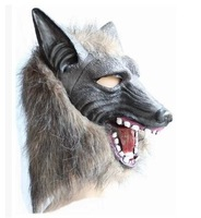 Halloween animal mask wigs latex soft  werewolf mask masquerade party costumes Halloween Party Prop, wholesale