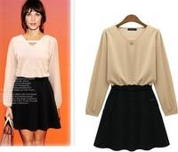 2014 Autumn New Nude Color Chiffon V-neck Long Sleeve OL Mini Dress Work Wear S M L XL