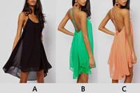 Free shipping,back Sexy  thin straps cross hollow solid metal buckle sleeveless Chiffon Dress