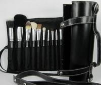 New Fashion 16 PCS Professional Makeup Brushes Cosmetics Tool Goat Hair Make up Brush Black Case Free Shipping