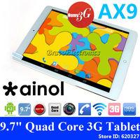 "Ainol Numy 3G AX9 9.7"" MTK8382 Quad Core 1.3GHz  Android 4.2 Dual Sim 1GB RAM 8GB WCDMA OTG GPS 5.0MP Camera Phablet Ainol AX9"