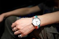 European and American color bar flag canvas belt quartz watches, Retro big dial casual neutral watches