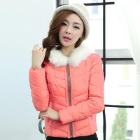 Cool Winter Down Coat Zippers Design Candy Color Fur Collar Body Short Jacket Fashion Good Quality Parkas For Women 5335