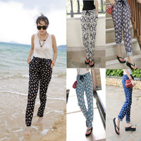 omen Fashion Drawstring Elastic Waist Floral Harem Pants Cotton Casual Trousers Freeshipping