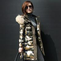 Fashion 2014 Camouflage Warm Down Coat Thick Fur Collar Slim Female Parka Desigual  Brand Long Down Jacket W052