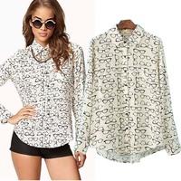 New autumn blusas femininas slim women blouse fashion glasses printed long-sleeved cotton shirts camisas femininas