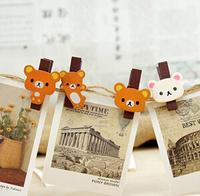 Little bear wooden clip easily Small clip | photo log folder