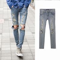 ripped jeans for men skinny Distressed slim  famous brand designer biker hip hop  jeans men