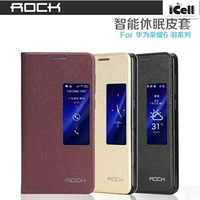 Original Rock Brand Feather Series Auto Sleep S View Flip Leather Case For Huawei Honor 6 ,+RETAIL 30pcs/lot DHL free shipping