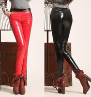 New Fashion Knitting K136 Pants for women faux leather cotton flexible stretch thin trousers wholesale retail FREE SHIPPING
