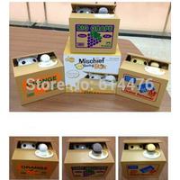 30pcs/lot Free shipping Lovely Steal Money Cat Kitty Coins Piggy Bank Saving Box Money Box Xmas Gift