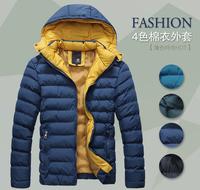 2014 Autumn Winter Men's Warm Wadded Jacket Cotton-Padded Jackets Hooded Slim Fit Down Coat Parkas Outwear 4 Colors M-XXXL