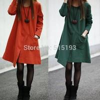 2014 Korean autumn winter ladies pocket long sleeve o neck street casual loose one piece mini dress female black/orange/green