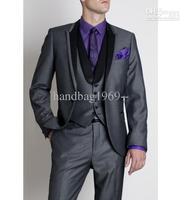 Fashion Custom Made One Button Grey Groom Tuxedos Peak Black Lapel Best Man Groomsmen Men Wedding Suits Bridegroom (Jacket+Pants