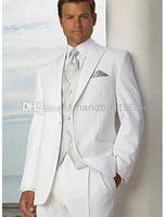 Fashion Custom Design Two Buttons White Groom Tuxedos Peak Lapel Best Man Suits Groomsmen Men Wedding Suits (Jacket+Pants+Vest+T