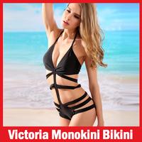 Brand Victoria Swimsuit Black Swimwear Sexy Girl's/Women's Bikini SET Monokini Swimsuit Bathing Suit Swimwear Bandage Swimsuit