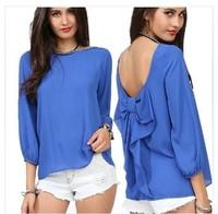 S-3XL!! New women Long sleeve bare back bow candy color chiffon shirts/long sleeve sexy leopard blusas femininas chiffon shirts