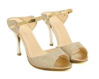 New hot Hot Women Lady Golden Deep Toe Pumps Stiletto Sandals High Heel Slipper Shoes free shipping