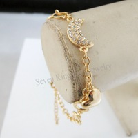 """Min Order 10$/ FREE SHIPPING/7.9""""+1.6"""" LADY 18K YELLOW GOLD GP OVERLAY MOON HEART CHARM CZ STONE BRACELET/GREAT GIFT/"""