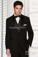 Fashion Top selling Two buttons Peak Satin Lapel Black Groom Tuxedos Best Man Suits Groomsmen Men Wedding Suits (Jacket+Pants+Ve