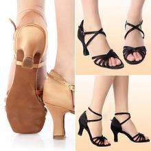 New hot Brand New Women's Dacing Latin Tango Dance Modern Heel Salsa Shoes Black Beige free shipping(China (Mainland))
