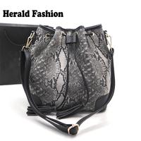 Serpentine Pattern Women's Handbag Tassel Bucket bags European and American Style Women Messenger Bag Crossbody Shoulder Bags