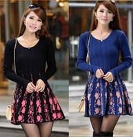 2014 Women Autumn Winter Korean long Slim Sweet Floral Print Thick Knitted Warm Sweater Dress Ladies Basic Sweater Dresses