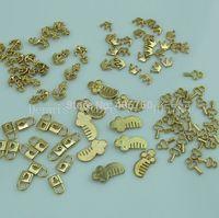 Wholesale 100Pcs Mixed 5 Designs Lock Key Anchor Comb Crown 3D Alloy Nail Art Rhinestone Decoration Kit Free Shipping