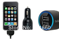 100pcs F8J071bt04 Dual USB  Car Charger + 5pcs USB Cable 20WATT 2.1A Car Charger With Retail Package Free freight !