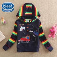 NEAT new free shipping in autumn 2014 baby&kids cartoon car fashion buckles open collar boy with hood fleece long sleeves L1008