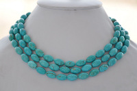 7x12mm rice blue natural turquoise bead NECKLACE 50inch
