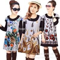 20 COLORS!2014 Plus size flower print casual dress autumn vintage women floral cashmere woman tunic sweater dress lady top tunic