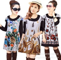 20 COLORS!2015 Plus size flower print casual dress autumn vintage women floral cashmere woman tunic sweater dress lady top tunic