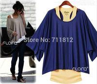 Hot Europe America Style Mercerized Cotton Women's Short Batwing Sleeve Loose Tee Shirts Women Vest+T-Shirt Twinset