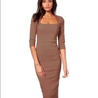 2014 Newest Fashion dress Womens' Elegant Autumn Brief Square Collar Half Sleeve Knee-Length Bodycon OL girl csual Dresses