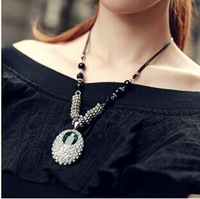 Womens Vintage Rhinestone Synthetic Blue Gemstone Black Bead Leather Necklace Choker Antique SIlver 2014