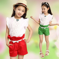 Fashion children clothes set,girls cute summer lace suits,new kids girls cotton shorts suit 5pcs/lot free shipping