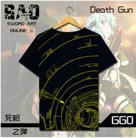 Sword Art Online Short Sleeve T-shirt Anime Men GGO Death Gun Cotton T Shirt Tops