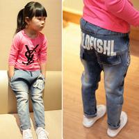Kids Girl Jeans Pants Retro Blue Letters Print Elastic Waist Denim Trousers 1-7T Free&DropShipping