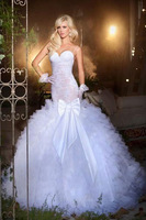 Lace bodice organza layered mermaid wedding dress in off white, sweetheart