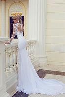 Sexy sheer lace long sleeves side slit beach bohemian chiffon wedding dress