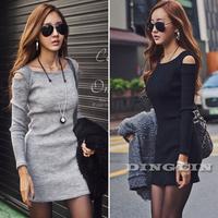 New Korean Women Ladies Off Shoulder Long Sleeve Bodycon Party Casual Summer Dress Vestidos Knitwear Clothing