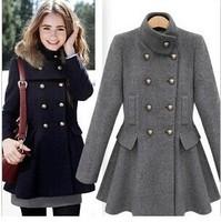 2014 Women's Warm Winter Coat & Jacket Slim Double-breasted Woolen Coat With Detachable Fur Hat. Female Skirt Type Overcoat S-XL