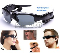 Convenience 2014 Promotion!!!4GB MP3 Sunglass Headset Sport MP3 Music Player Sun Glass Free Shipping B18 SV006917