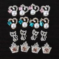 10pcs Alloy 3D Rhinestone Pearl Nail Art Tips Glitter Decoration Fox Crown Patch Free shipping & Drop shipping