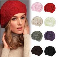 2014 new fashion women twist beret lady knitted hat girl handmade crochet wool beanies winter ear warmer beret free shipping